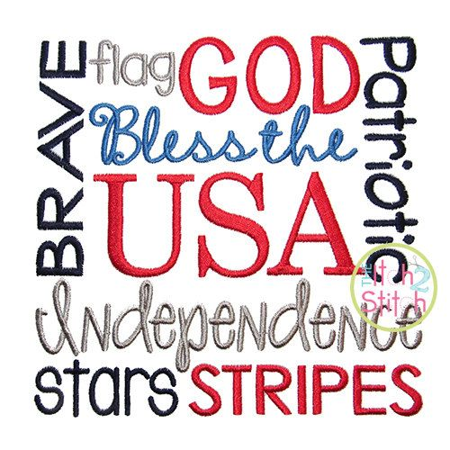 Patriotic Word Embroidery Design For Machine by TheItch2Stitch