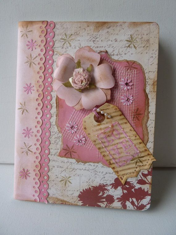 Pretty Pink Vintage Composition Book Altered notebook. Notebook. Cuaderno decorado. Libro alterado. Book.