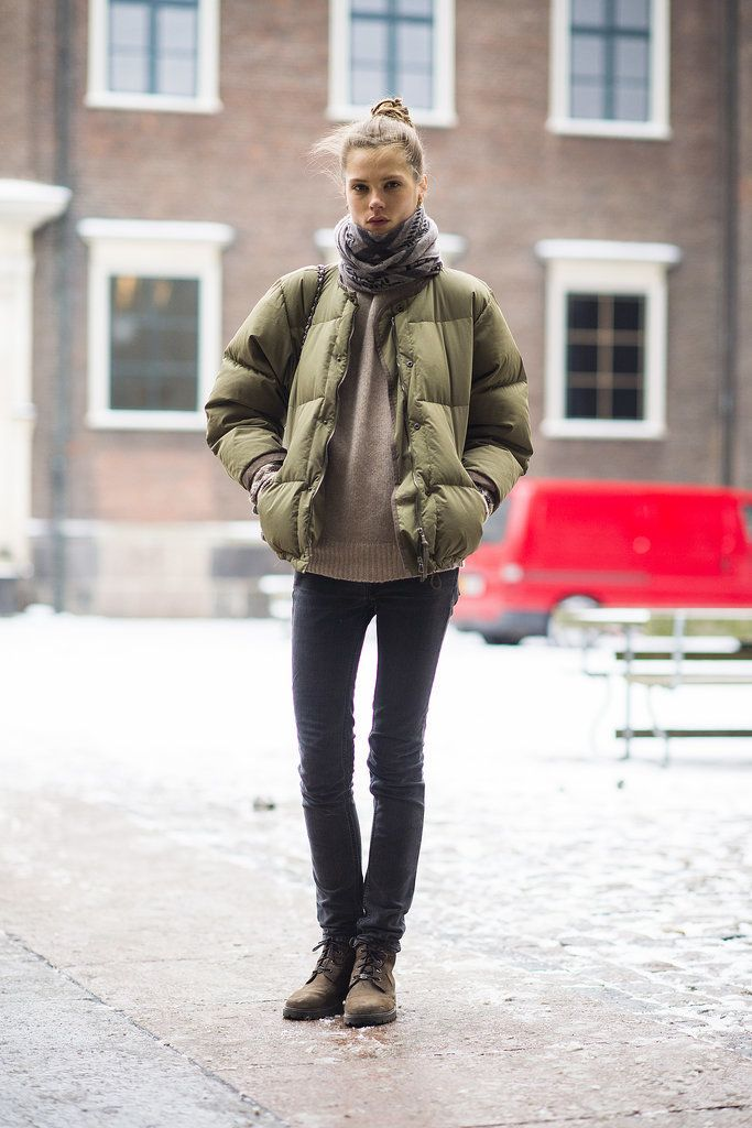 Sure, your puffer jacket is a Winter necessity, but it also looks pretty cute atop skinny jeans and a cozy sweater.