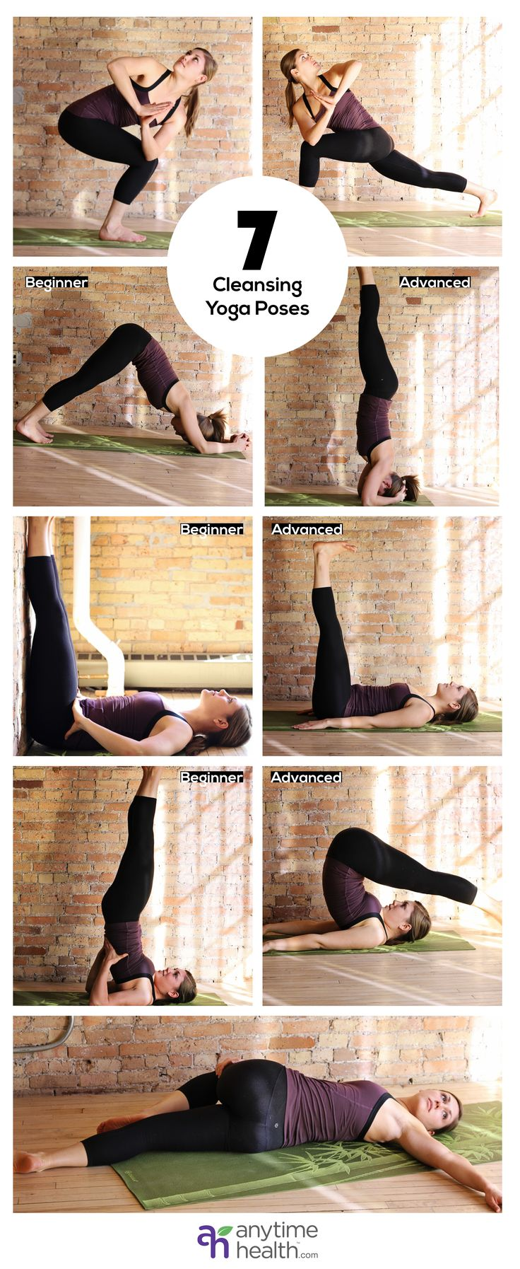 7 Cleansing Yoga Poses to Detoxify Your Bod // From left to right -- Twisting Chair Pose, Twisting Crescent Lunge, Dolphin Pose, Supported Headstand, Supported Leg Up Wall Pose, Leg Up Wall Pose,  Supported Shoulder Stand  Plow Pose,  Supine Spinal Twist #strong #healthy