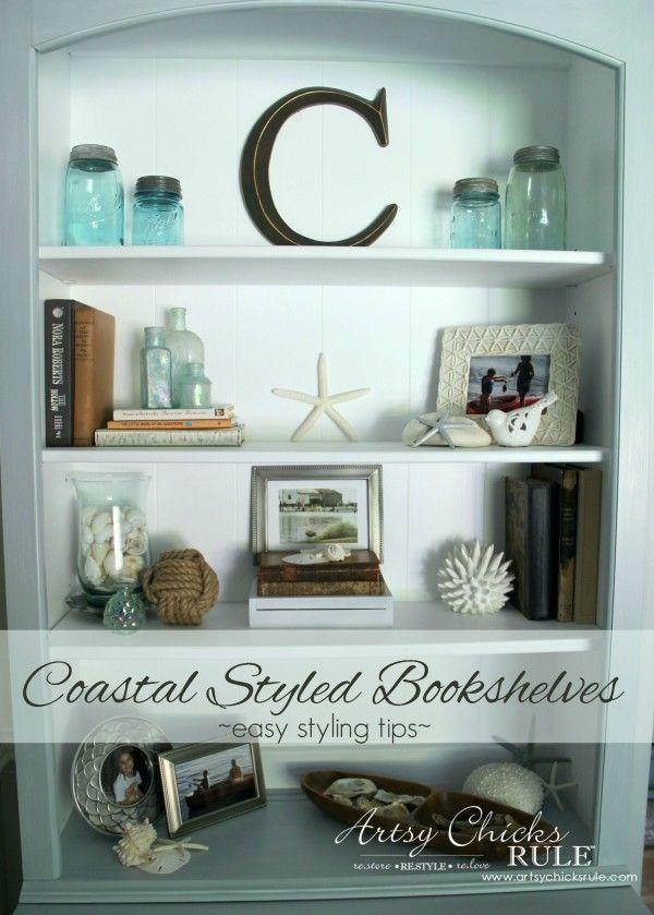 coastal styled bookshelves how to style shelves - Coastal Decor Ideas