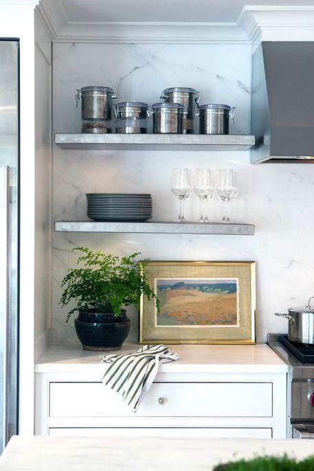 White Marble Backsplash Metal Floating Shelves Kitchen