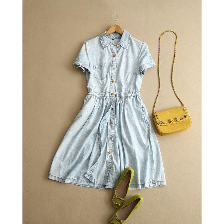 Повседневная Женщины Джинсовый платье 100% хлопок 2015 Летний Новый Женщины рубашка Жан Tunique Femme 2015 Vestidos де Верано