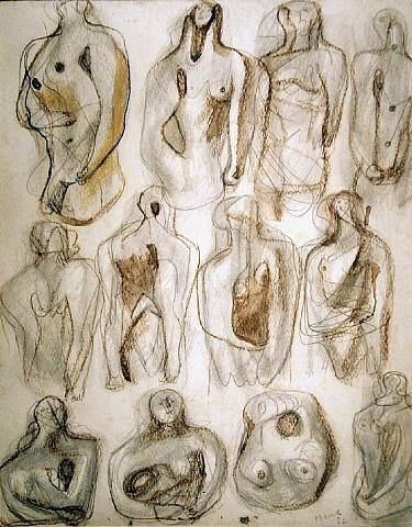 Henry Moore sketchbooks. During WWII there was verv little call for large scale sculpture. The pages of his sketchbooks of this period show that he was full of ideas for abstract sculptures that would make use of organic and natural forms rather than pure geometrical shapes.