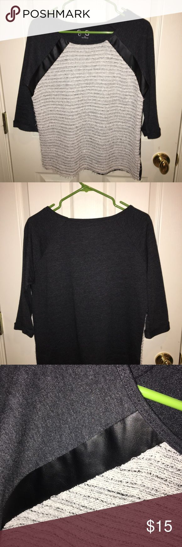 Jessica Simpson 3 quarter length shirt This is a S Jessica Simpson shirt with three quarter length sleeves. It is dark gray and has touches of black leather on the front. Only been worn once. Jessica Simpson Tops Tees - Long Sleeve