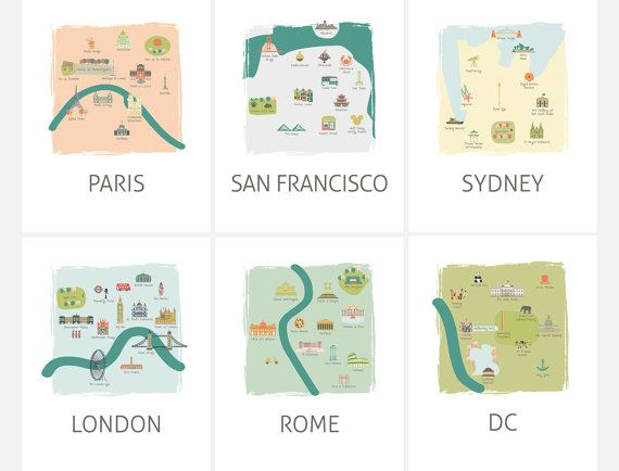 8x10 playful, tourism map prints make for adorable decor in a travel theme nursery for boys or girls alike. There are 6 cities featured in this