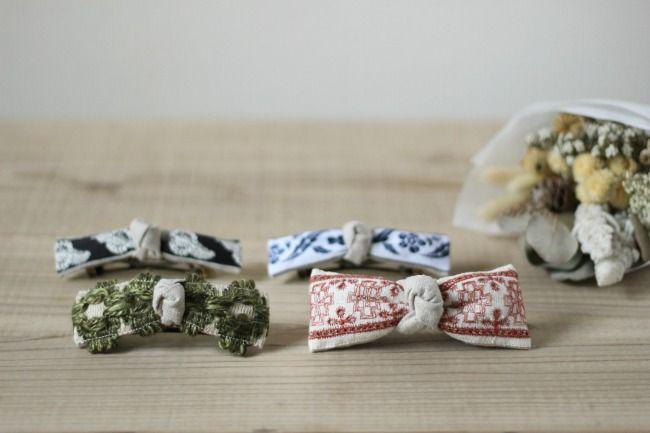  FLEURI(フルリ) ヴィンテージ リボン バレッタ ヘアアクセサリー vintage barrette accessory 刺繍