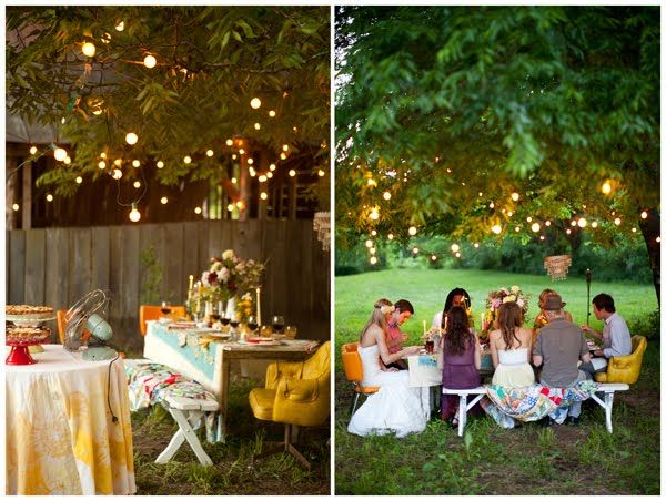 Lights in the treesOutdoor Wedding, Ideas, Fairies Lights, Dinner Parties, Trees, Outdoor Parties, Gardens Parties, Summer Dinner, Backyards