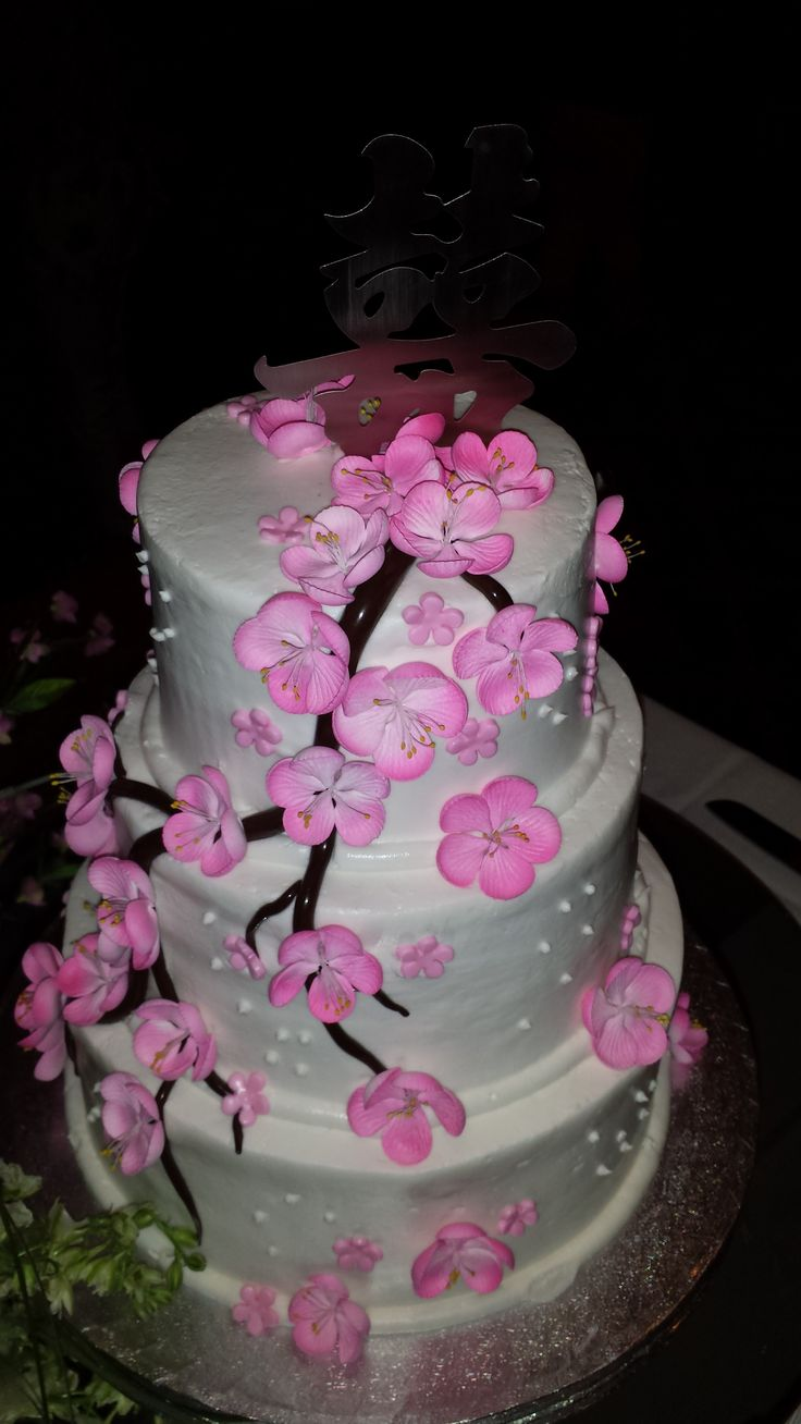 My Beautiful #Cherry-blossom #wedding cake was Absolutely so gorgeous & so pretty I didn't want to cut it! #asian wedding