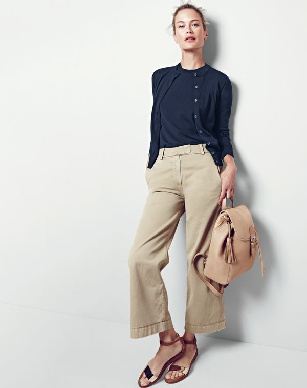 J.Crew women's cotton Jackie cardigan sweater, cotton Jackie shell, Rayner chino, leather backpack and metallic suede flatform sandals.