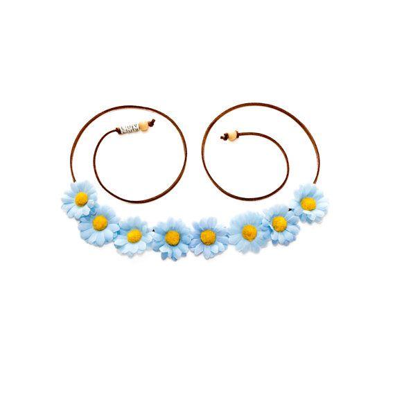Blue Daisy Flower Crown, Flower Headband, Hippie Headband, Coachella, Electric Daisy Carnival, Electric Forest Festival, PLUR, Bonnaroo