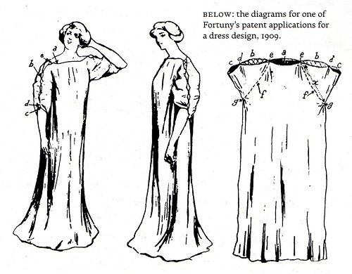 Lagenlook Sewing Patterns | Fortuny dress patent. | fashion-vintage - Fortuny