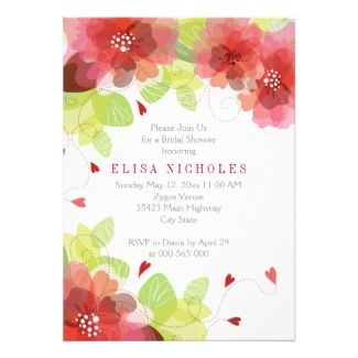 modern floral bridal shower invitations featuring the color of the year for marsala