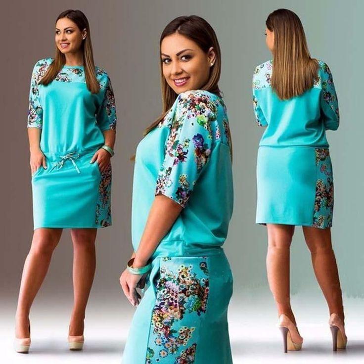 Large Size 2018 Big Size Print Dress Straight Dresses Plus Size Women Clothing