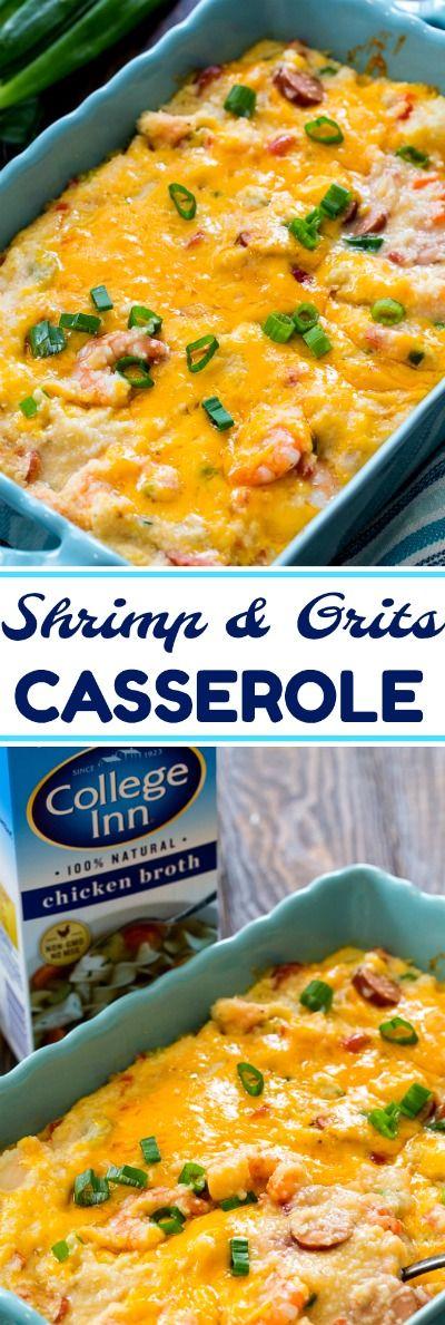 Cheesy Shrimp & Grits Casserole #CollegeInnBroth #sponsored