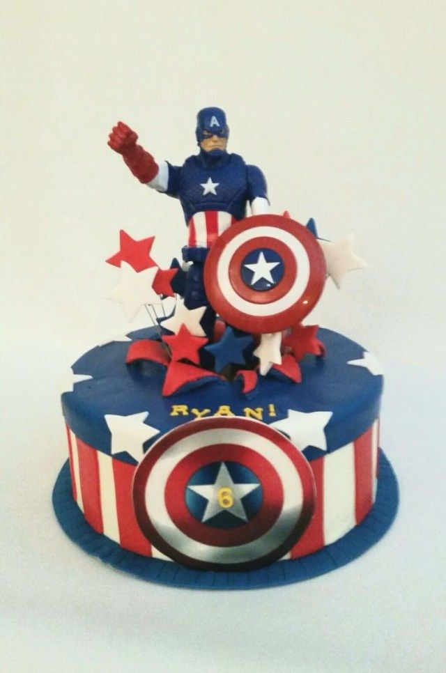 Stupendous 27 Inspiration Picture Of Captain America Birthday Cake Captain Funny Birthday Cards Online Elaedamsfinfo
