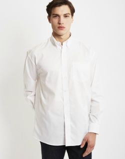 440a131419f THE IDLE MAN Mens Long Sleeve Oxford Shirt White