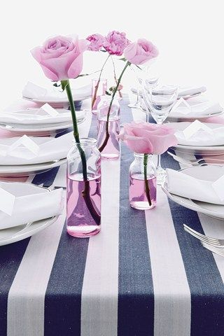 Striped Table Runner; DIY Inspiration (Black and white rugby stripes for Halloween?)