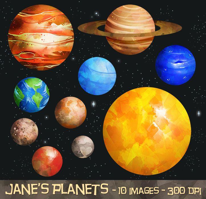 Watercolor planets clipart by digitalartsi on creative market