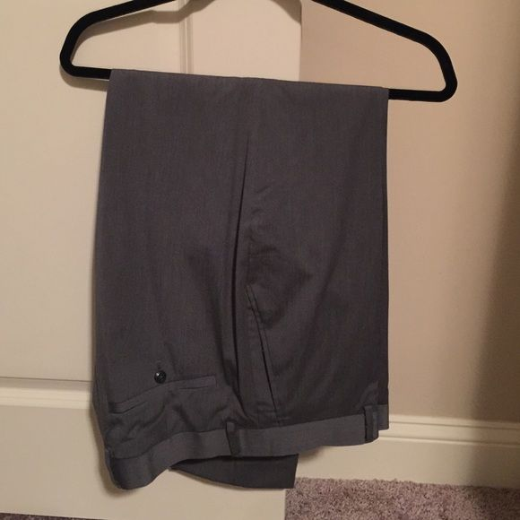 Mens dress pants by Louis Raphael Grey with black pinstripe dress pants. In excellent condition. Flat front. Too big for hubby or he'd keep Louis Raphael Pants Trousers