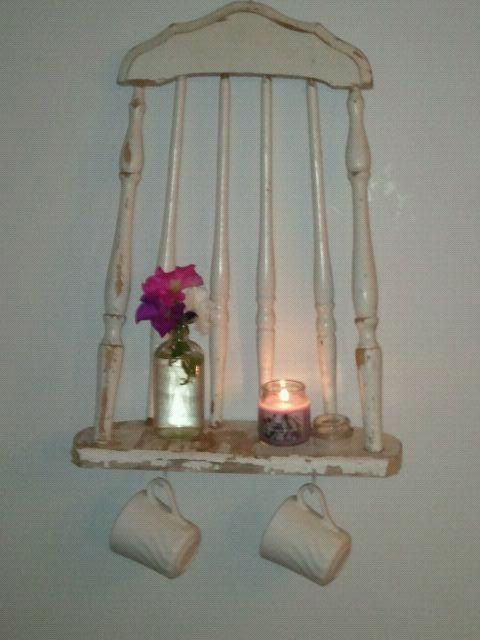 Upcycled old chair into shelf