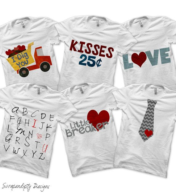 Valentine Bundle Pack - Iron on Tie Shirt PDF / Boys Valentine Outfit / Valentine's Day Clothing / Kisses 25 Cents / Toddler Boys Clothes by ScrapendipityDesigns, $9.00