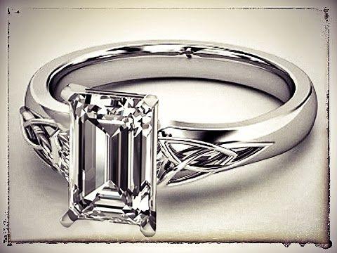 Emerald Cut Diamond Triquetra Celtic Engagement Ring