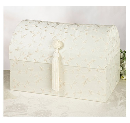 This elegant treasure chest wedding card box is covered in ivory satin embroidered with a charming leaf and vine pattern.