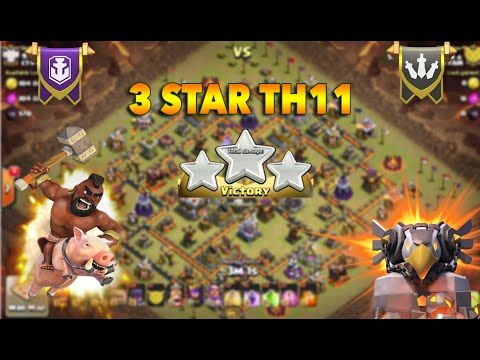 Clash of clans - 3 Star war attack strategy - 3 star th11 war base   Que...