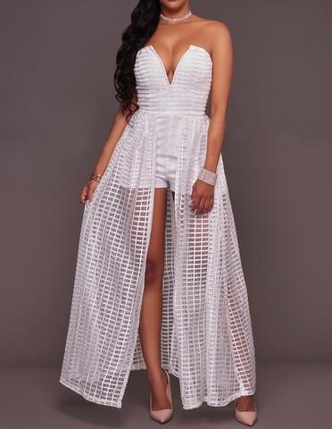 Strapless Plunge Bandeau Plaid Mesh Ruffle Split Maxi Prom Dress