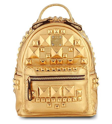 MCM Studded Small Metallic Leather Backpack Gold