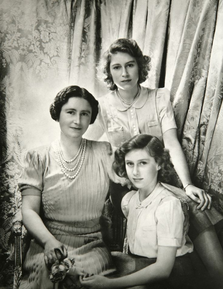 Queen Elizabeth, Princess Elizabeth & Princess Margaret  Cecil Beaton Buckingham Palace October '42  V