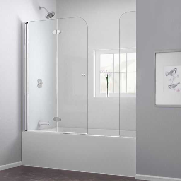 dreamline aqua fold 56 to 60 in w x 58 in h hinged tub door by dreamline - Bathtub Shower Doors