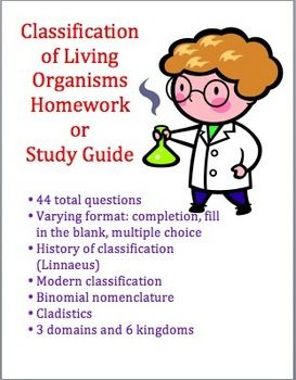 Classification of Living Organisms (Taxonomy) Homework/Study Guide.  $Classification System, Organic Taxonomy, Homework Study Guide, Living Organic, Homework Assignments, Wonder Study, Classification Homework, Science