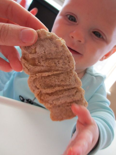 homemade teething biscuits - brown rice flour, baby brown rice cereal, ripe banana, ripe pear, water