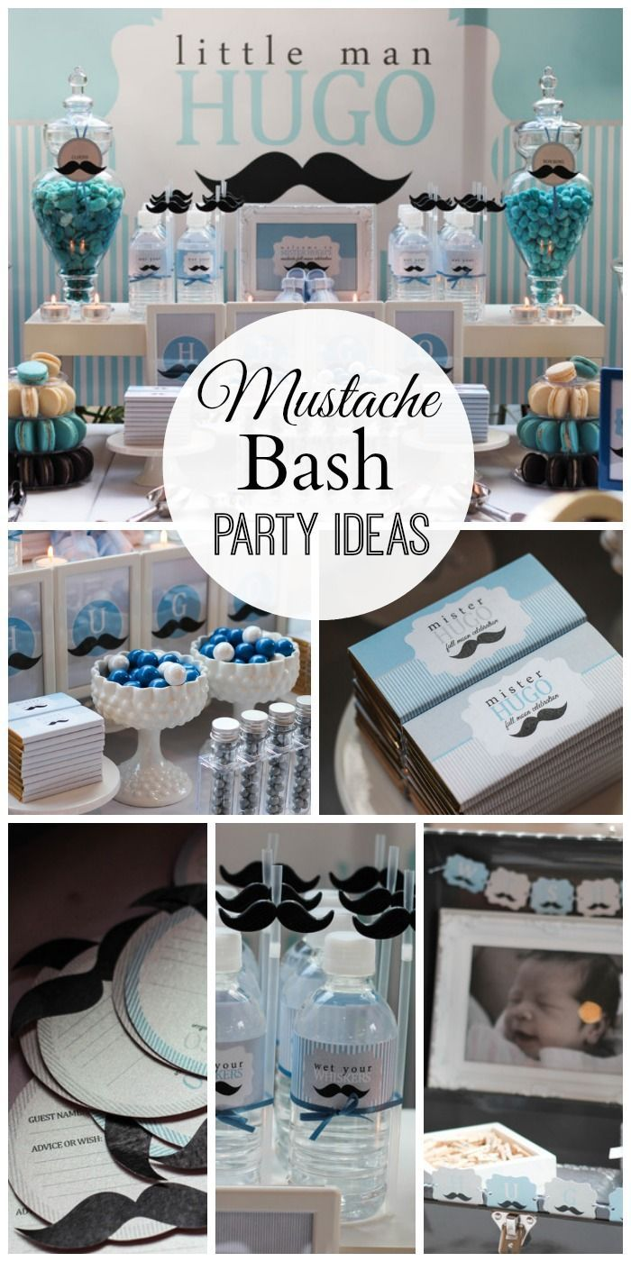 """Such cute mustache """"little man"""" party ideas at this one month baby birthday party! See more party ideas at CatchMyParty.com. #mustachebash"""