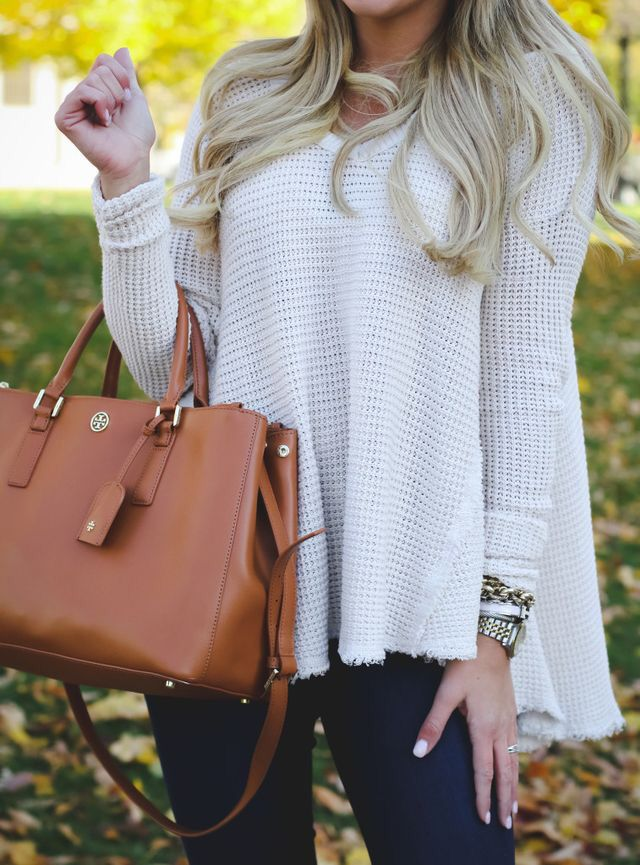Fall style   knitted sweater & Tory Burch Robinson bag