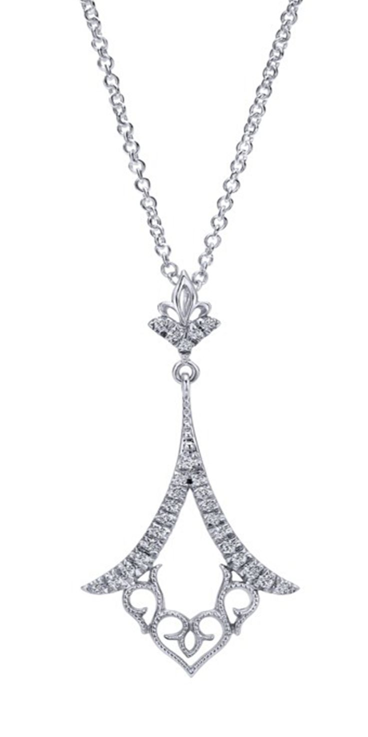 A gorgeous and unique 14k White Gold Diamond Necklace by Gabriel & Co. This beautiful piece is the most perfect piece for any lovely dress for a date night or event! Find your local Gabriel retailer on our website www.gabrielny.com