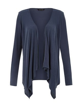 Navy Panelled Waterfall Cardigan  | New Look