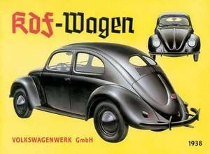 """VW KDF Wagen metal sign by Volkswagen. $19.95. Measures: 16.75W x 11.75H inches. Embossed Lithographed Tin. Pre-Drilled Holes Ready to Hang. Sign Reads: Volkswagen KDF-Wagen. High quality metal sign   Rounded edges and fixing holes  400mm x 310mm (16"""" x 12"""")"""