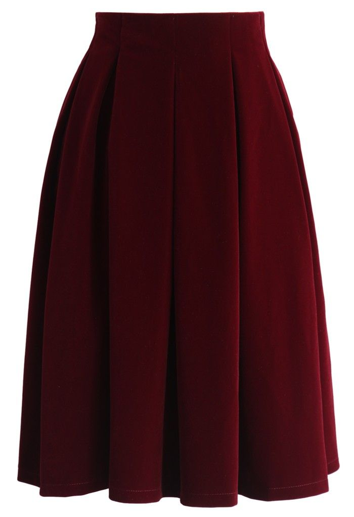 Velvet Dream Pleated Midi Skirt in Wine