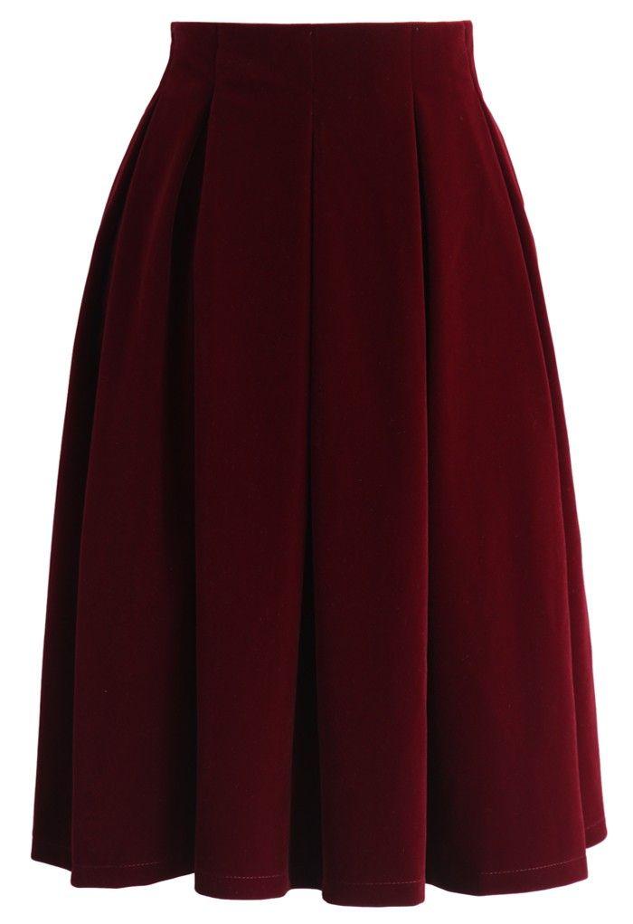 Velvet Dream Pleated Midi Skirt in Wine