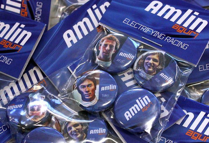 Amlin Aguri Formula E team brand. #Merchandise #Promotion #Badges