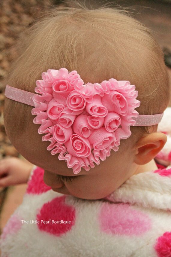 Super cute baby headband for Valentines day .... En cuanto pueda hare una
