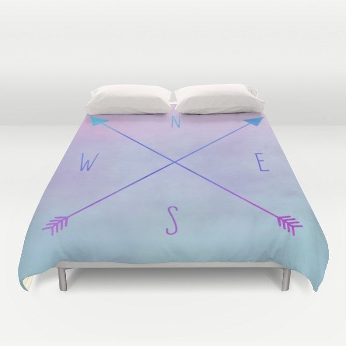 Purple Duvet Cover, Compass Arrows Duvet, Full Queen King Duvet, Compass Rose, Purple Bed Cover, Nautical Duvet Cover, Blue Comforter Cover by OlaHolaHolaBaby on Etsy