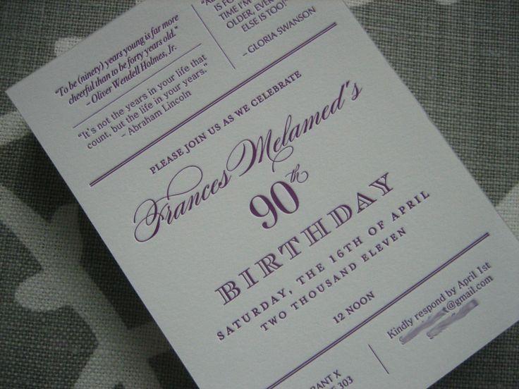 Navy bean letterpress 90th birthday invitations filmwisefo