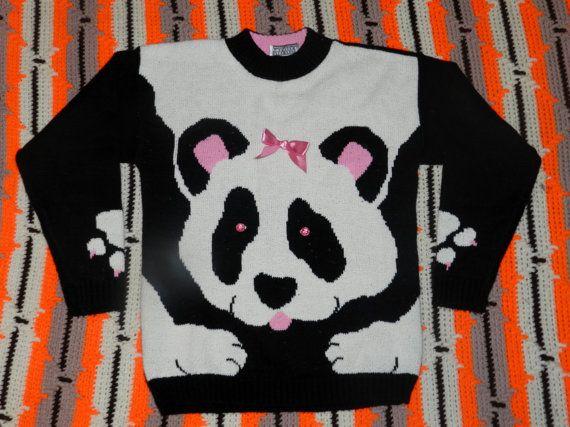 Vintage anni 90 Panda maglione - ragazze taglia 10/12 / / Womens XS