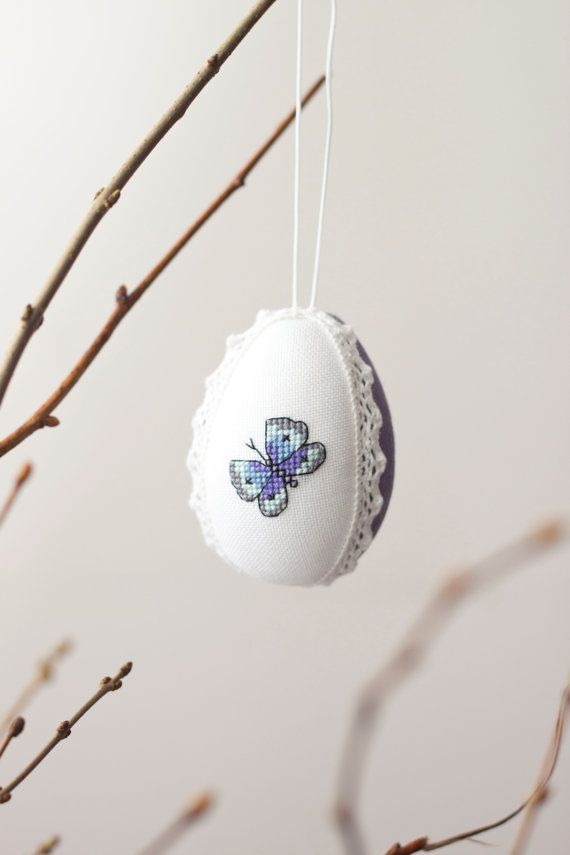 Easter eggs ornament linen with cross stitch picture handmade Easter decor, handmade easter ornament egg イースター