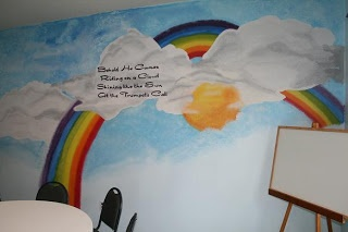 A mural in a church Sunday school room, but you could also paint it in a child's room in a homeSunday School