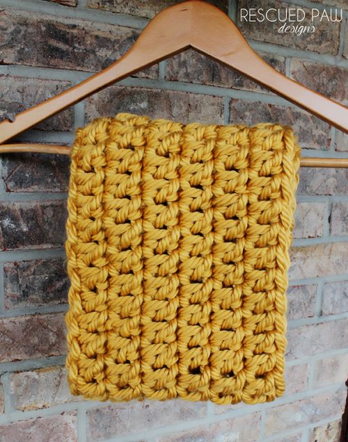Large Chunky Infinity Crochet Scarf Free Pattern via Rescued Paw Designs
